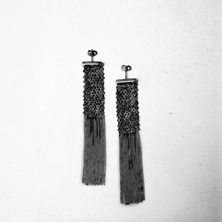 Boucles d'oreilles Elise - Argent rhodié noir