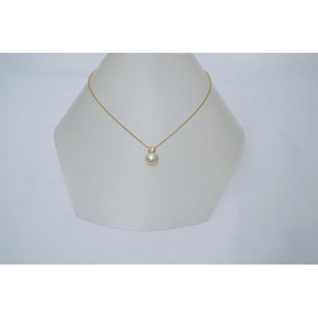 Pendentif Danaélle - Perle blanche et diamant