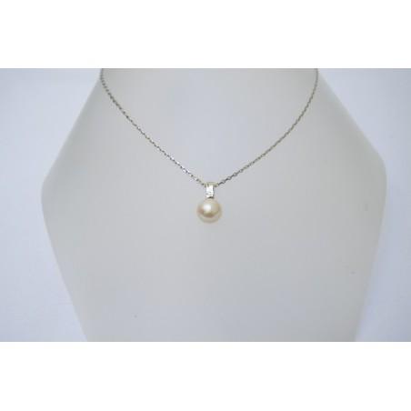 Pendentif Dania - Perle blanche et diamant