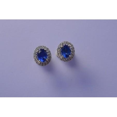 Boucles d' oreilles Délya - Saphirs, diamants et or blanc