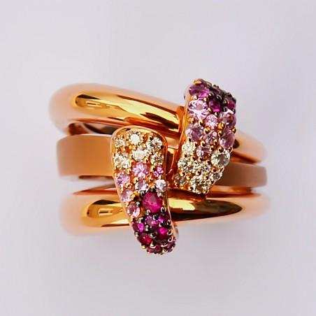 Bague Diala - Diamants, Saphirs et or rose