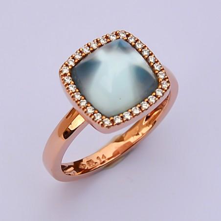Bague Diallo - Topaze bleue, Diamants