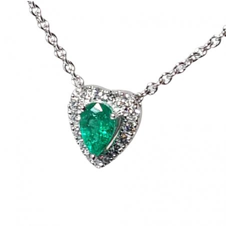 Collier Fabia - Émeraude - diamants et or blanc