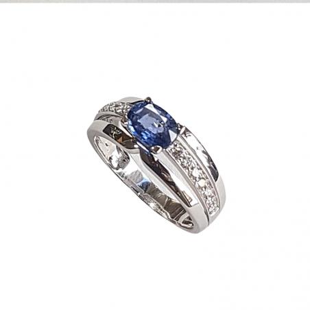 Bague Felicia - Saphir, Diamants et or blanc
