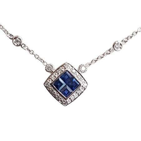 Collier Felice  - Saphir bleu et or blanc