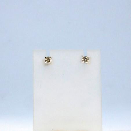 Boucles d'oreilles Alix - Diamants, or blanc et fermoir Alpa
